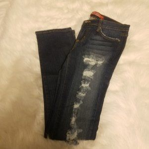 JUDY BLUE DESTROYED BLUE JEANS SIZE 9